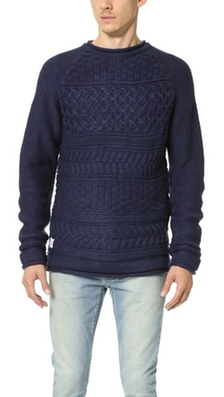 Basket Weave Knit Crew Sweater by Native Youth in Black-ish