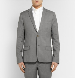 Slim-Fit Wool Suit Jacket by Ami in Self/Less