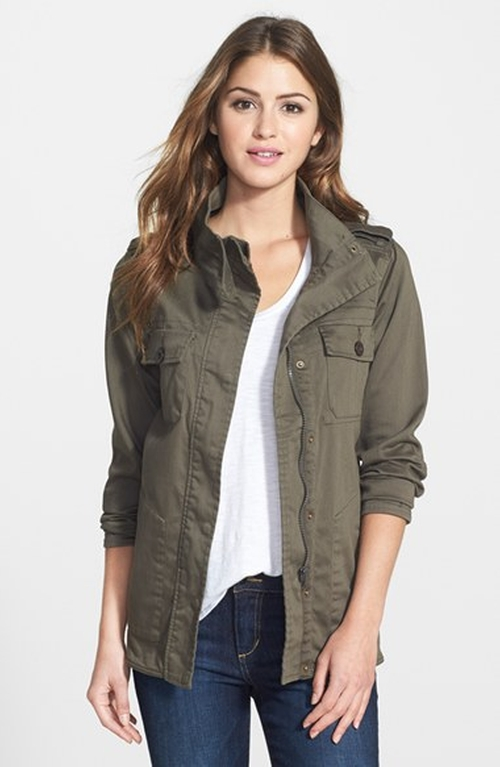 Two-Pocket Stretch Cotton Military Jacket by Press in Pretty Little Liars - Season 6 Episode 6