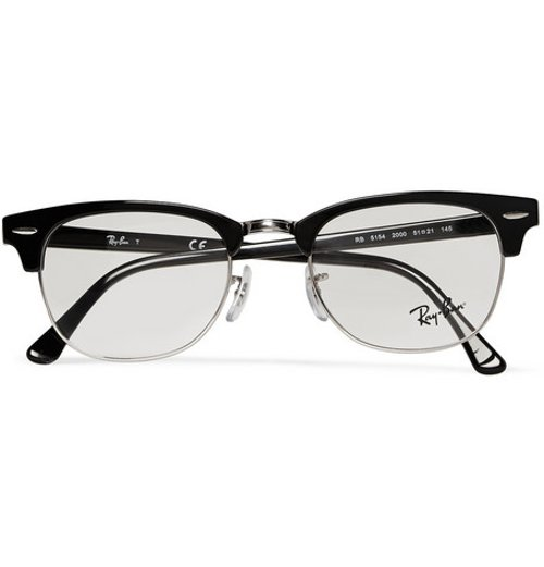 clubmaster acetate sunglasses  Nick Frost Ray-Ban Clubmaster Acetate and Metal Optical Glasses ...