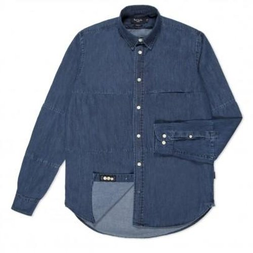 Chambray Piece-Constructed Shirt by Paul Smith Jeans in Contraband