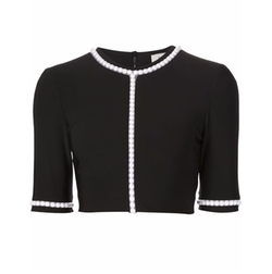 Pearl Embellished Cropped Top by Mugler in Empire