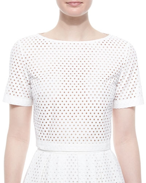 Mesh Short-Sleeve Crop Top by Lela Rose in Keeping Up With The Kardashians - Season 11 Episode 8