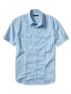 Slim-Fit Striped Short-Sleeve Utility Shirt by Banana Republic in Ballers