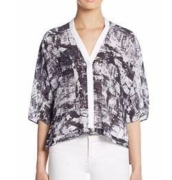 Abstract-Print Boxy Hi-Lo Top by Helmut Lang in Mistresses
