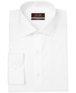 Non-Iron White Twill Solid Dress Shirt by Tasso Elba in New Girl