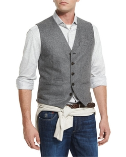 Flannel Wool Waistcoat by Brunello Cucinelli in Guilt