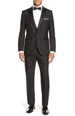 'Aston' Solid Wool Tuxedo Suit by Strong Suit in Modern Family