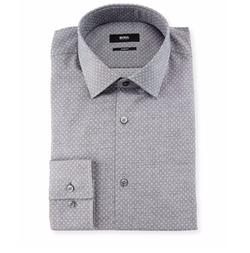 Jenno Slim-Fit Dot-Print Dress Shirt by Boss Hugo Boss in Scream Queens
