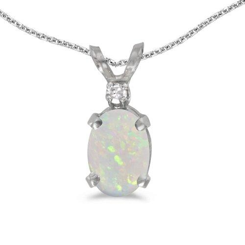 14k White Gold Oval Opal And Diamond Pendant by Direct Jewelry in Tammy