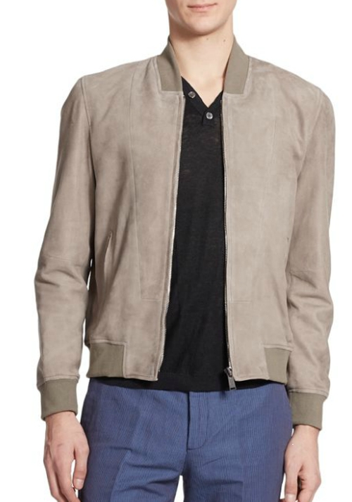 Suede Bomber Jacket by Kent And Curwen in Youth
