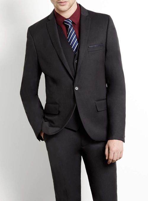 Charcoal Skinny Three Piece Suit by Topman in Ride Along