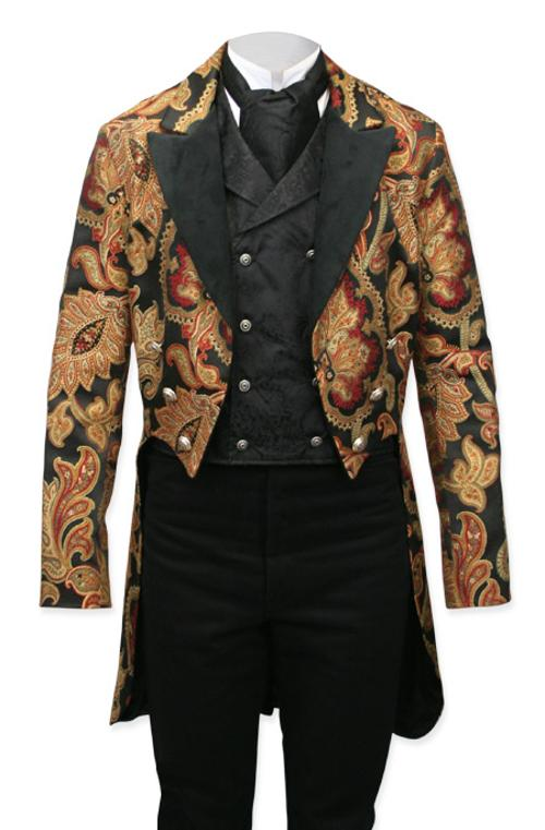 Vienna Brocade Tailcoat - Velvet Trim by Gentlemans Emporium in Hot Tub Time Machine 2