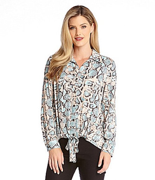 Boa-Print Midtown Tie-Up Shirt by Karen Kane in While We're Young