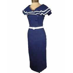 Captain Navy Blue Wiggle Dress by Bettie Page  in Gossip Girl