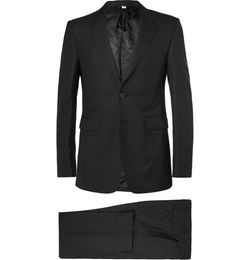 Black Slim-Fit Wool Suit by Burberry London in Legend