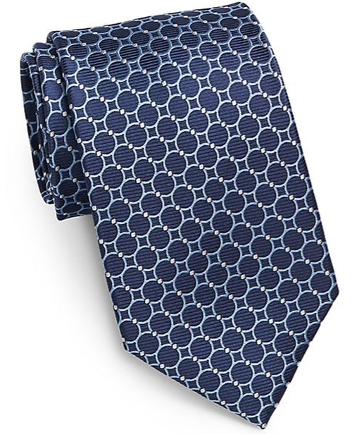 Circle-Print Silk Tie by Saks Fifth Avenue Black in Suits - Season 5 Episode 5