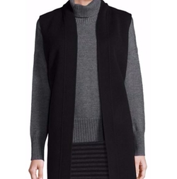 Solid Wool Blend Long Vest by Eileen Fisher in Quantico