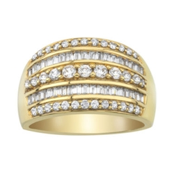 Baguette & Round Diamond 10k Yellow Gold Ring by 1 CT. T.W. in The Intern