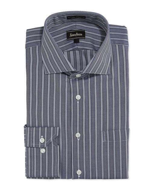 Herringbone-Stripe Dress Shirt by Neiman Marcus in The 33