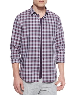 Melange Plaid Sport Shirt by Vince in Imaginary Mary