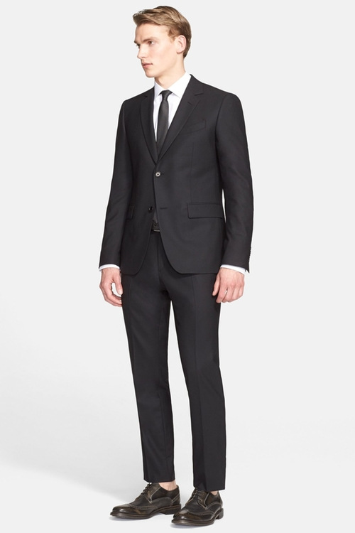 'Austin' Trim Fit Stretch Wool Suit by John Varvatos Collection in Black Mass