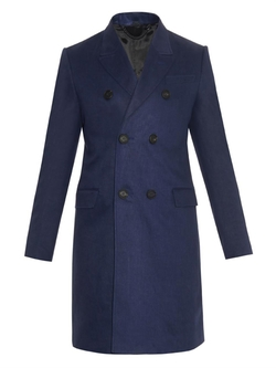 Blue Linen Double Breasted Coat by Burberry Prorsum in Jessica Jones