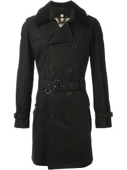 Shearling Collar Trench Coat by Burberry Brit in New Year's Eve