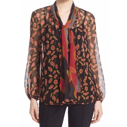 'Havanah' Print Silk Tie Neck Blouse by Diane Von Furstenberg in The Good Fight