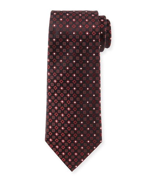 Square & Dot-Print Silk Tie, Copper by Armani Collezioni in The Man from U.N.C.L.E.