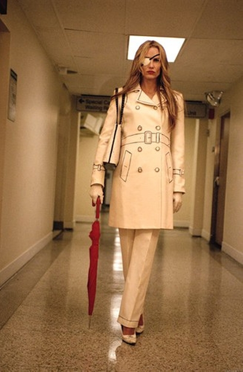 Trompe de L'Oeil Trench Coat by Moschino in Kill Bill: Vol. 1