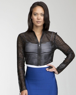 Mini Striped Leather Jacket by Bebe in The Vampire Diaries