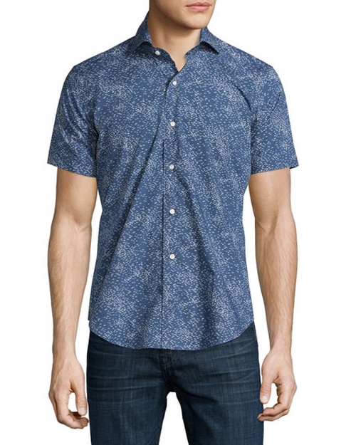 Ocean Traffic Printed Short-Sleeve Sport Shirt by Peter Millar in Modern Family