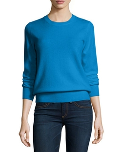 Long-Sleeve Crewneck Cashmere Sweater by Neiman Marcus Cashmere Collection	 in Modern Family