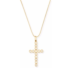 Bezel-Set Diamond Cross Charm Necklace by Sydney Evan in Keeping Up With The Kardashians