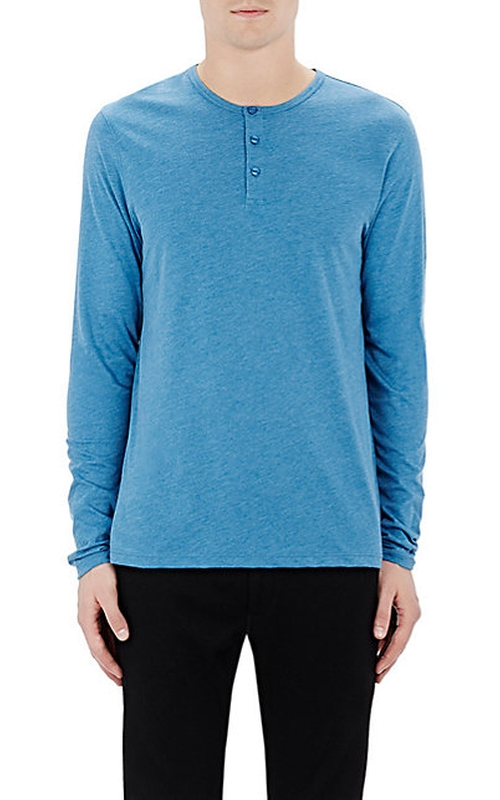 Jersey Henley Shirt by Barneys New York  in Mad Dogs -  Looks