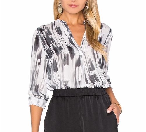 Stripe Covered Placket Blouse by Vince in How To Get Away With Murder - Season 3 Episode 3