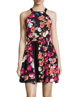 Floral-Print Racerback Dress by Romeo & Juliet Couture in Barely Lethal