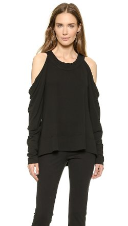 Long Sleeve Cold Shoulder Tunic Top by Donna Karan New York in Focus