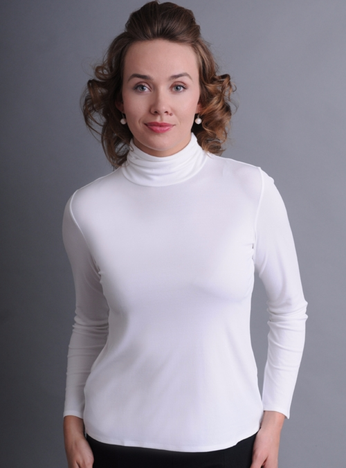 Silk Turtleneck Top by Eileen Fisher in The Boss