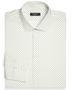 Modern-Fit Dot Dress Shirt by Saks Fifth Avenue Collection in Rosewood