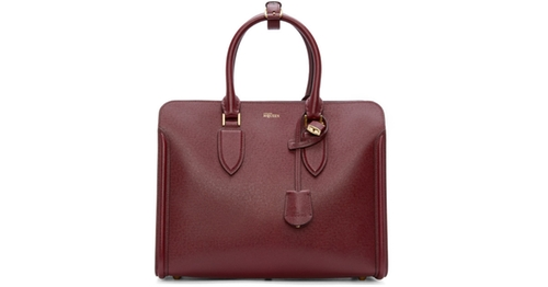 Burgundy Leather Heroine Tote Bag by Alexander McQueen in Suits - Season 6 Episode 8