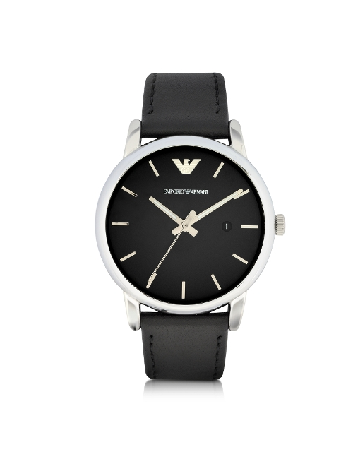 Signature Dial Leather Strap Watch by Emporio Armani in Love & Mercy
