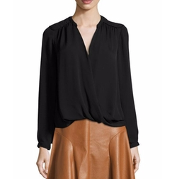 Danielle Silk Surplice Wrap Top by Rebecca Taylor in Power