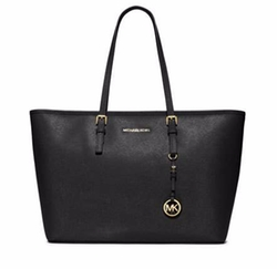 Jet Set Travel Medium Saffiano Tote Bag by Michael Michael Kors in Guilt