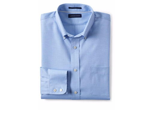 Men's Tailored Royal Oxford Button Down Dress Shirt by Lands' End in Deepwater Horizon