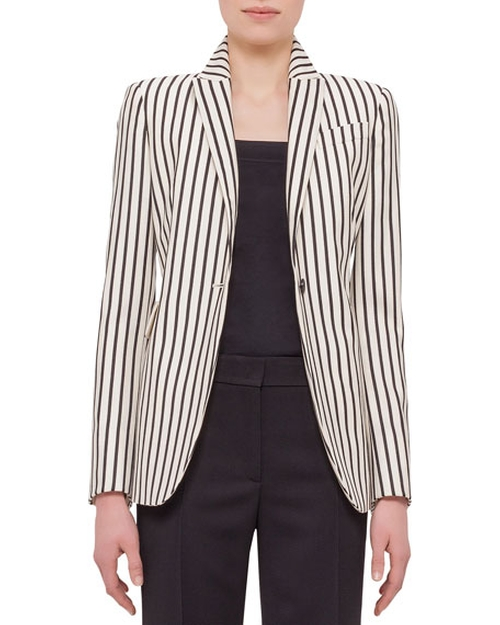 One-Button Striped Jacket by Akris Punto in Mistresses - Season 4 Episode 6