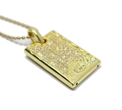 Men's Iced Out Lab Dog Tag Pendant Necklace by Fellocoo in Popstar: Never Stop Never Stopping