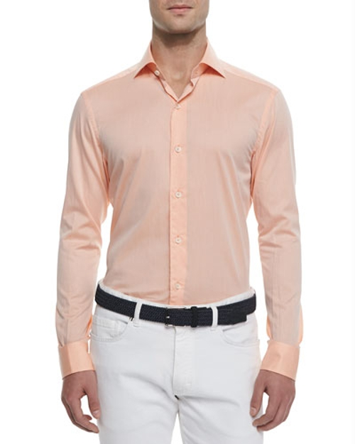 Woven Solid Sport Shirt by Ermenegildo Zegna in Entourage