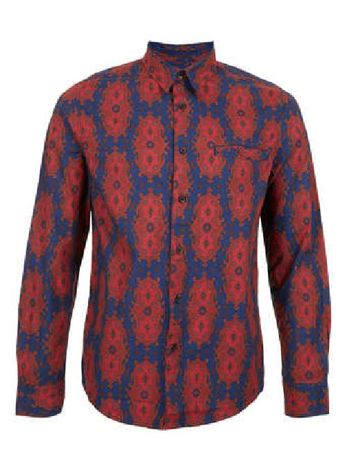 Red Navy Paisley Print Long Sleeve Shirt by Topman in The Great Gatsby